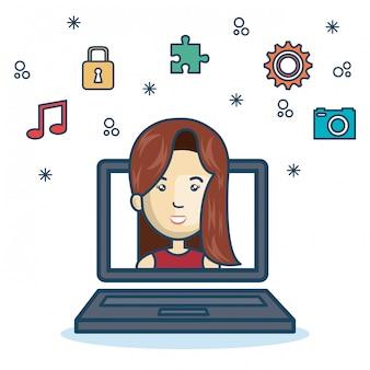 Cartoon meisje laptop scherm ontwerp