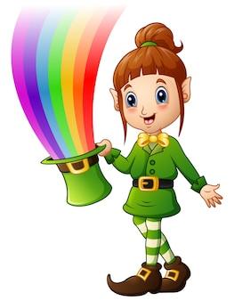 Cartoon meisje leprechaun bedrijf hoed met magische regenboog