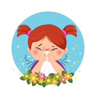 Cartoon meisje met allergie van stuifmeel