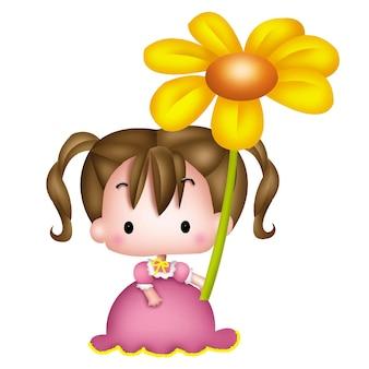 Cartoon meisje met bloemen karakter pop zoet model emotie illustratie clipart drawin