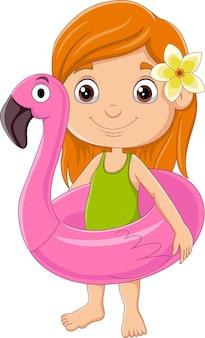 Cartoon meisje met flamingo opblaasbare ring