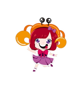 Cartoon meisje met krab hoed vectorillustratie