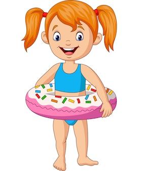 Cartoon meisje met opblaasbare ring