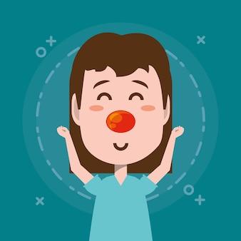 Cartoon meisje met rode neus