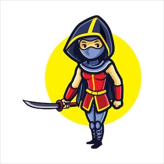 Cartoon meisje ninja