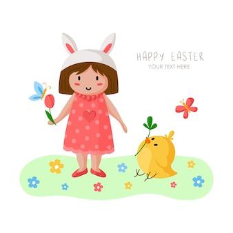 Cartoon meisje op paasdag, gelukkig kind in vakantie konijn kostuum en roze jurk, bloemen en kip
