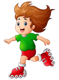 Cartoon meisje rolschaatsen te spelen