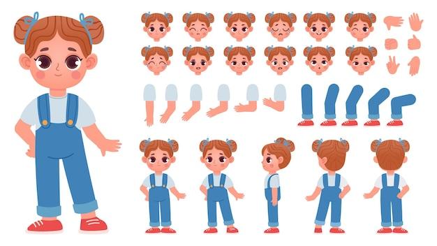 Cartoon meisje teken constructor met gebaren en emoties. kind mascotte zij- en vooraanzicht, lichaamsdelen voor animatie vector set. illustratie van karakter meisje pose en gebaar