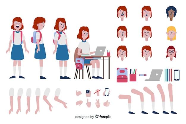 Cartoon meisje tekensjabloon