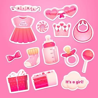 Cartoon meisje verjaardag objecten collectie