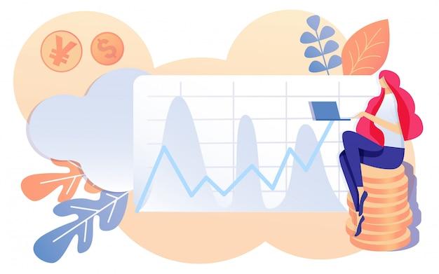 Cartoon meisje zit op coin stack working notebook