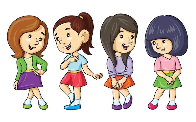 Cartoon meisjes rokken dragen