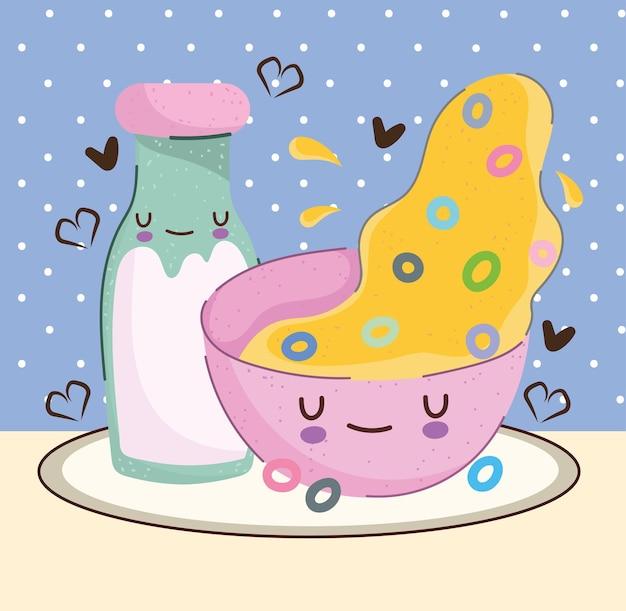 Cartoon melk en ontbijtgranen