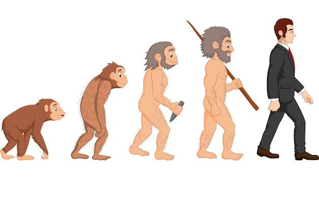 Cartoon menselijke evolutie