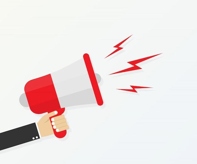 Cartoon menselijke hand met megafoon. sociale media marketingconcept.