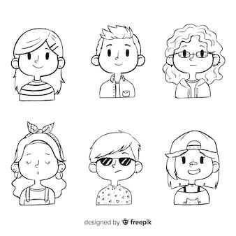 Cartoon mensen avatar pack