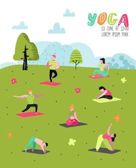 Cartoon mensen beoefenen van yoga poster