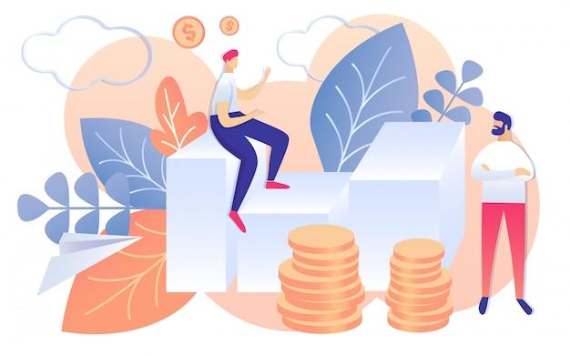 Cartoon mensen bespreken financiële strategieplan