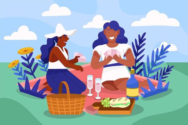 Cartoon mensen bij picknick in de natuur
