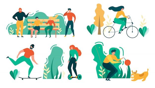 Cartoon mensen buiten activiteit sport recreatie