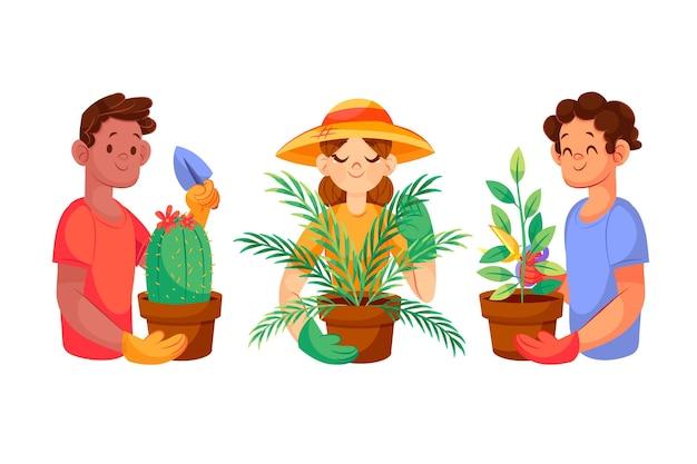Cartoon mensen die voor planten zorgen geïllustreerd