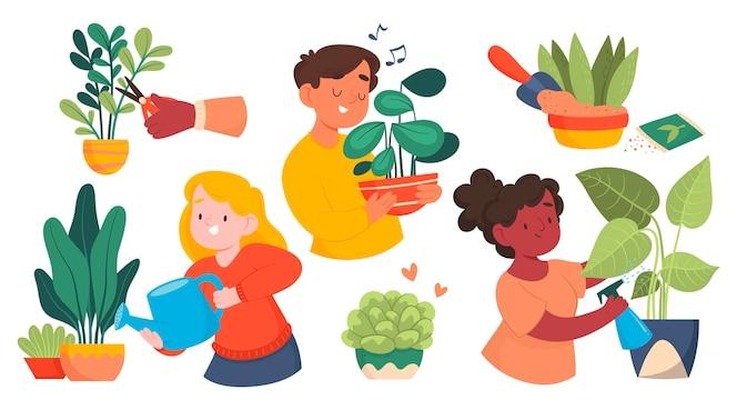 Cartoon mensen die voor planten zorgen