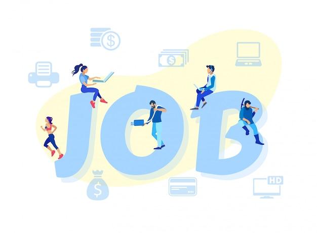 Cartoon mensen die werken aan enorme word job letters