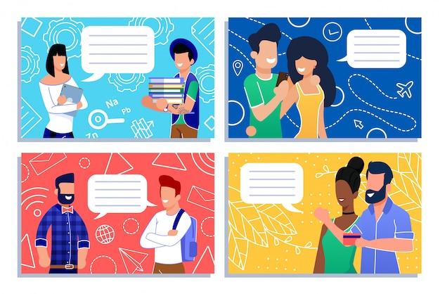 Cartoon mensen gemeenschap met korte dialoog set