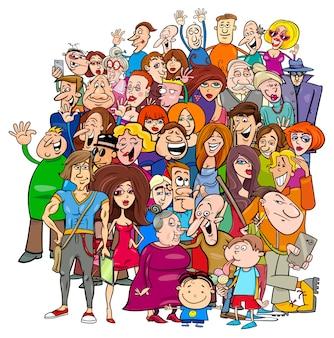 Cartoon mensen groep in de menigte