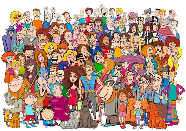 Cartoon mensen in de menigte