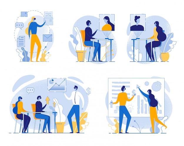 Cartoon mensen in vr headset glazen kantoorwerk