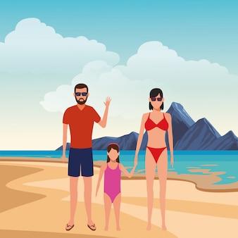 Cartoon mensen in zomervakantie