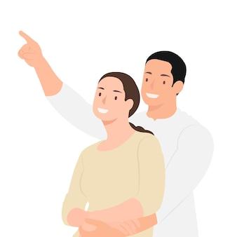 Cartoon mensen karakter ontwerp vrolijke man zijn vrouw omhelzen en ergens op wijzen. ideaal voor zowel print als webdesign.