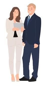 Cartoon mensen karakter ontwerp zakenman en zakenvrouw kijken naar tablet en gelukkig praten.