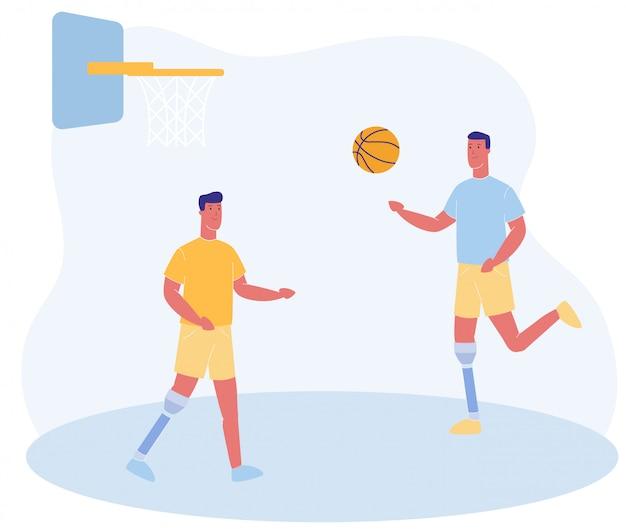 Cartoon mensen met prothetische been spelen basketbal