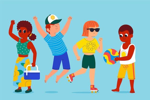 Cartoon mensen met zomerkleding collectie