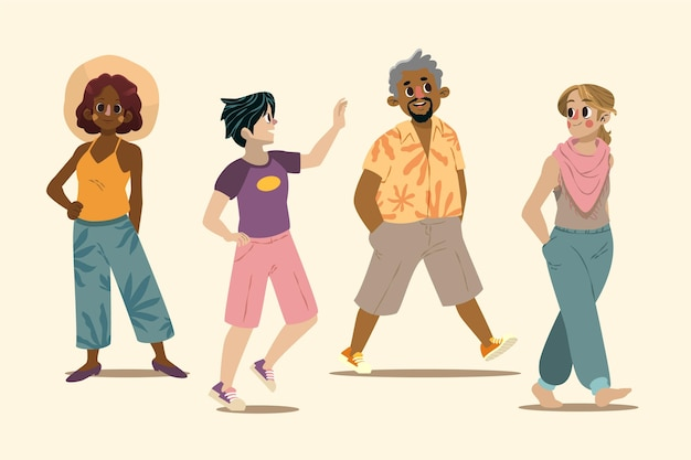 Cartoon mensen met zomerkleding pack