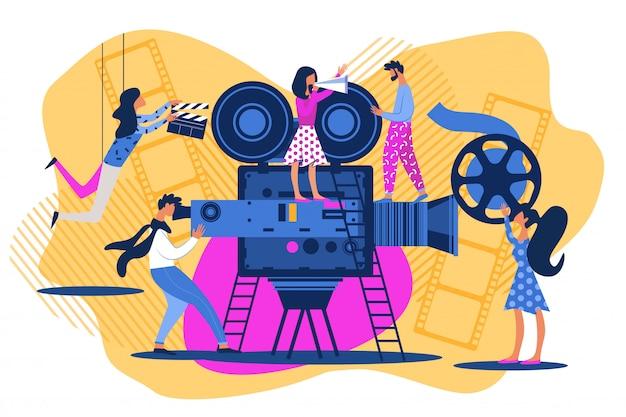 Cartoon mensen op film instellen cinema scène schieten