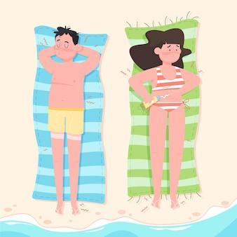 Cartoon mensen op het strand met zonnebrand