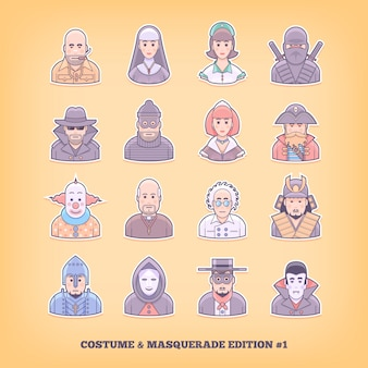 Cartoon mensen pictogrammen. kostuum spelen, uniform, maskerade pakelementen. concept illustratie.