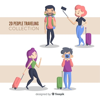 Cartoon mensen reisset