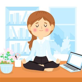 Cartoon mensen uit het bedrijfsleven mediteren illustratie