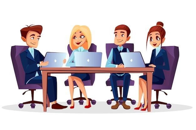 Cartoon mensen uit het bedrijfsleven zitten aan een bureau met laptops communiceren bij brainstormen