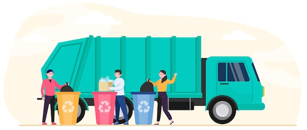 Cartoon mensen weggooien van afval en afval