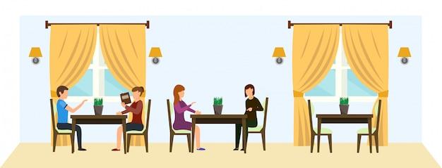 Cartoon mensen zitten aan tafel bij restaurant chatten