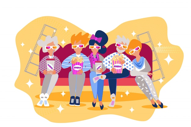 Cartoon mensen zitten bank eten popcorn bioscoopfilm