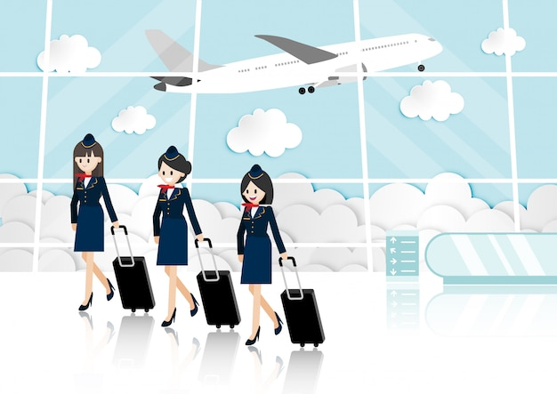 Cartoon met passagiersruimte in luchthaventerminal en mooie luchtstewardess
