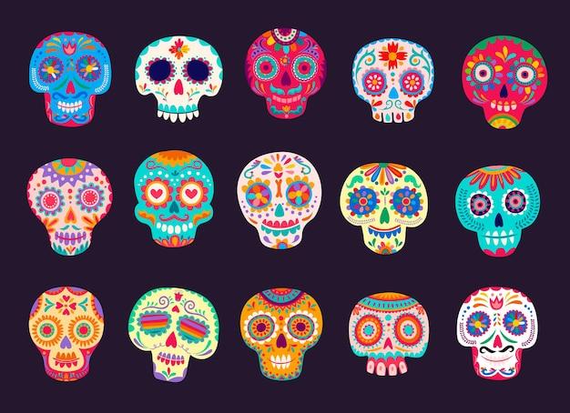 Cartoon mexicaanse calavera suiker schedels set. dode dag