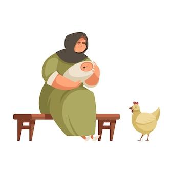 Cartoon middeleeuwse boerin die baby slaapt