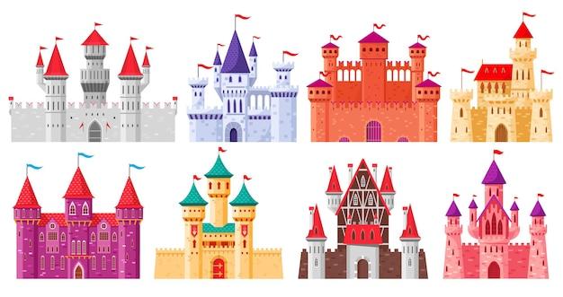 Cartoon middeleeuwse kastelen. sprookjesachtige middeleeuwse torens, historische koninklijke kastelen
